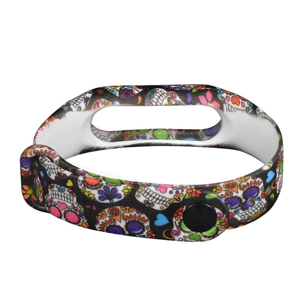 SPACICKIE New Skull Silicon Strap WristBand Bracelet Replacement For XIAOMI MI Band 2