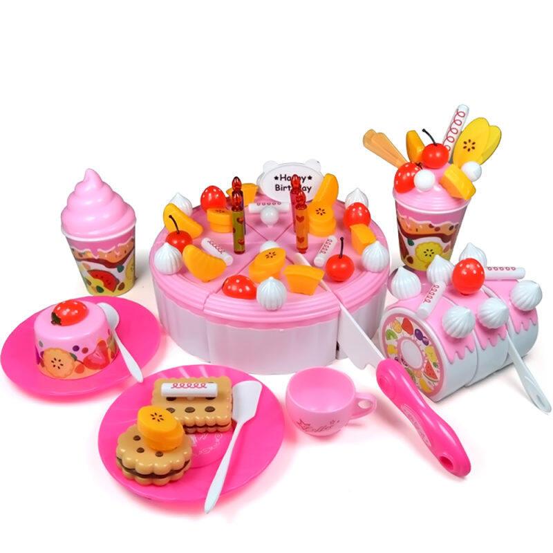 73 PCS DIY Cutting Fruit Birthday Cake Food Play Toy Set for Kids Children Babies Pink