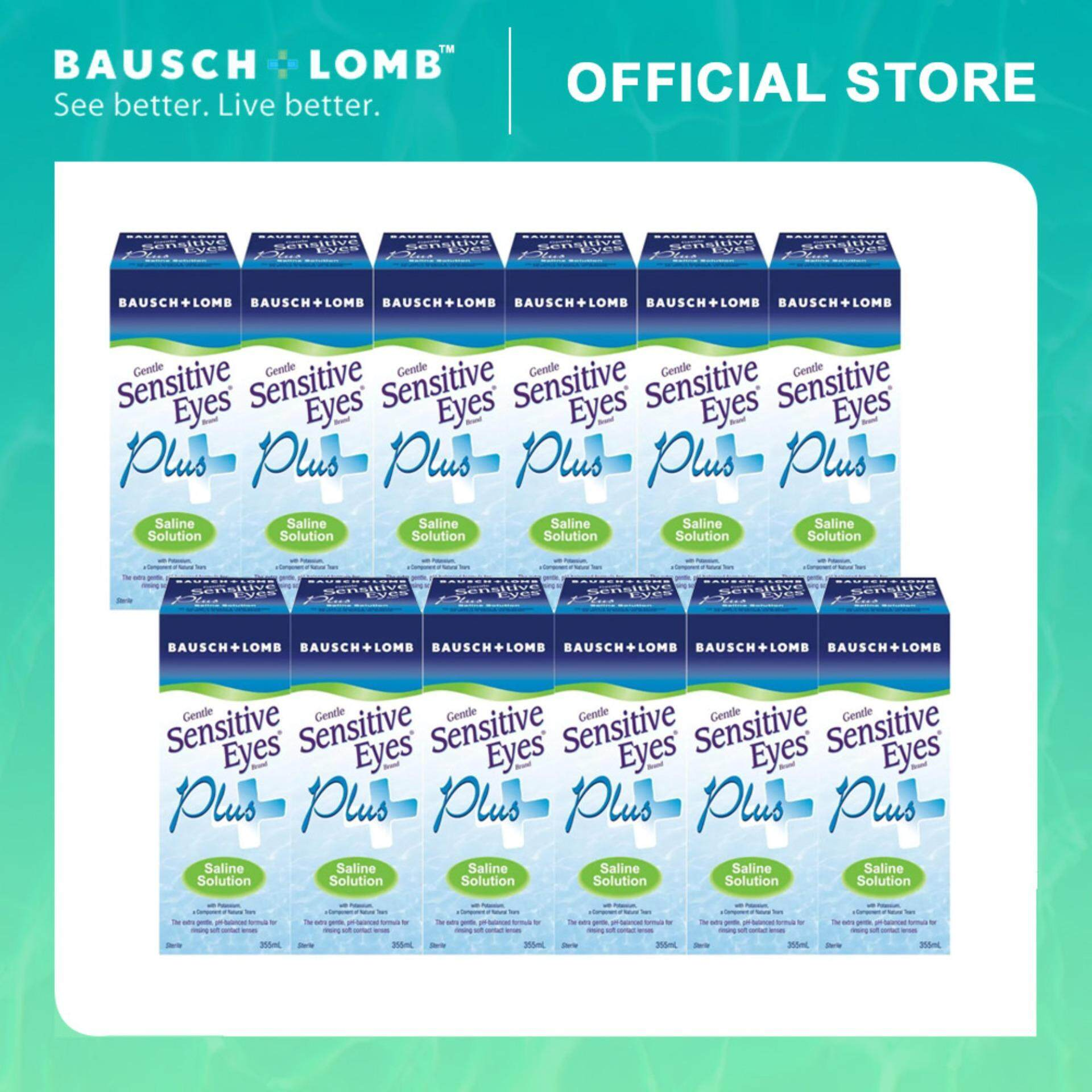 Bausch & Lomb 355ml 12-Pack Combo Sensitive Eyes Plus Saline Solution (12 Boxes)
