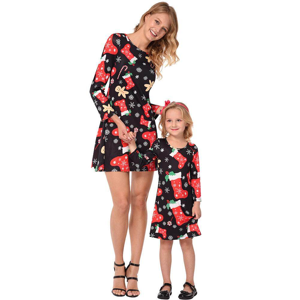 Big Sale Parent-child Outfit Christmas Snowflake Stockings Printed Long-sleeved Dress Matching Clothes