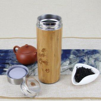 350ml Unique Straight Thermos Cup Natural Bamboo carve tea cup chashka Stainless Steel Vacuum Flasks