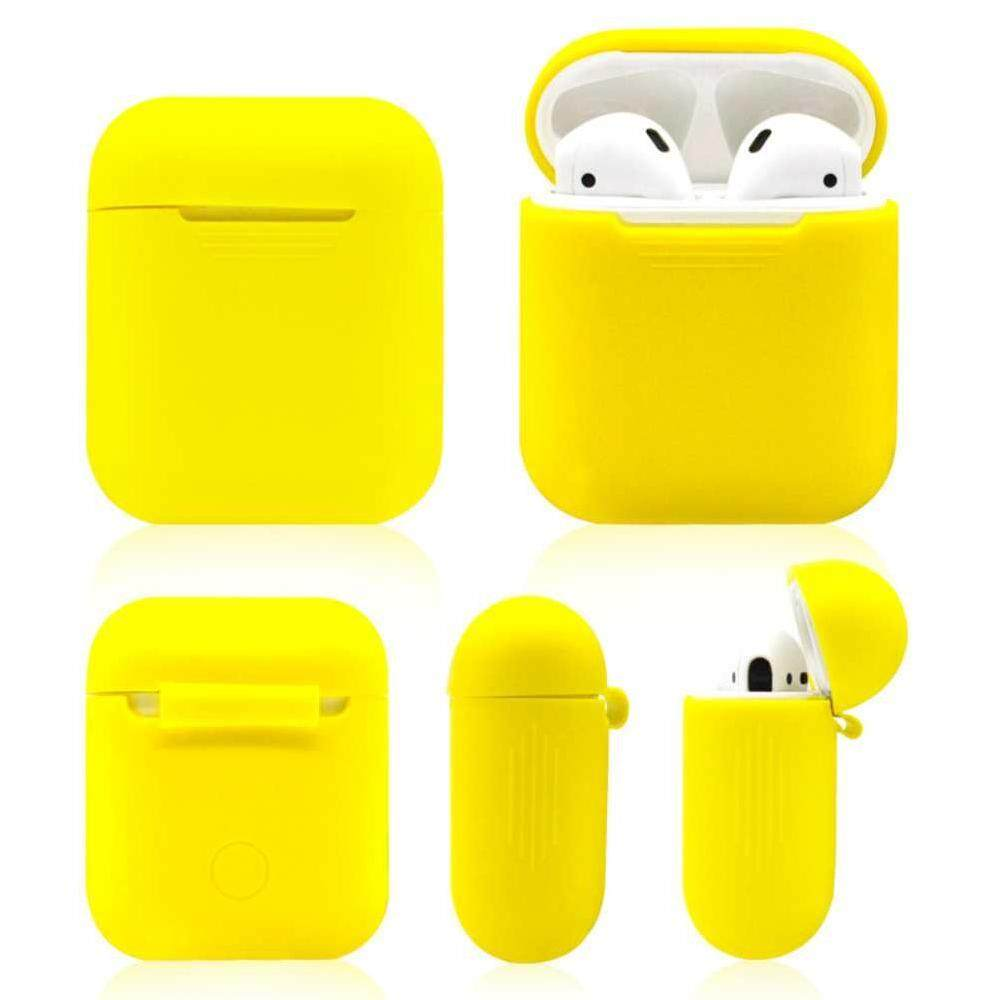 Vigo 2pcs ShockProof Earphone Case Sleeve Silicone Cover Cases For Apple Airpods Protect Box Shell Headphone Headset Protector Dark Blue and Yellow