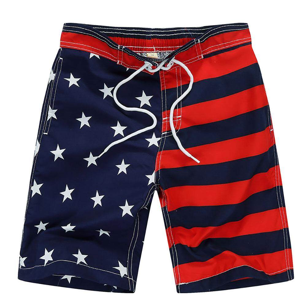 Hossen Children Boy Quick Dry Beach Casual Pants Surfing Fashionable Flag Pattern Shorts