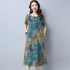 Plus Size Summer Fashion Ethnic Style Cotton Linen Short Sleeve Women Dress – intl