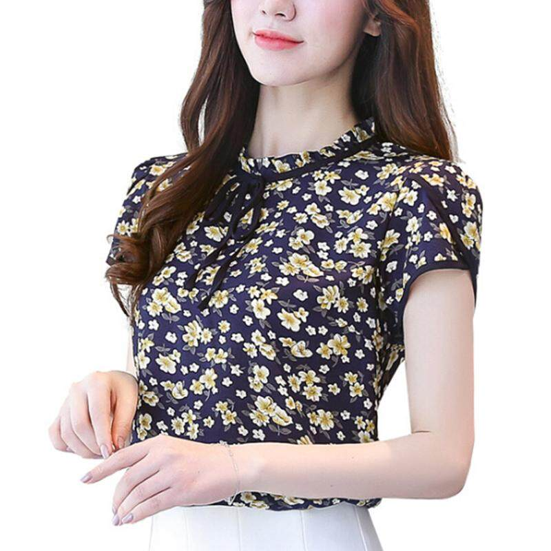 Ishowmall New Summer Women's Casual Loose Short Floral Blouse T-shirt Chiffon Tops