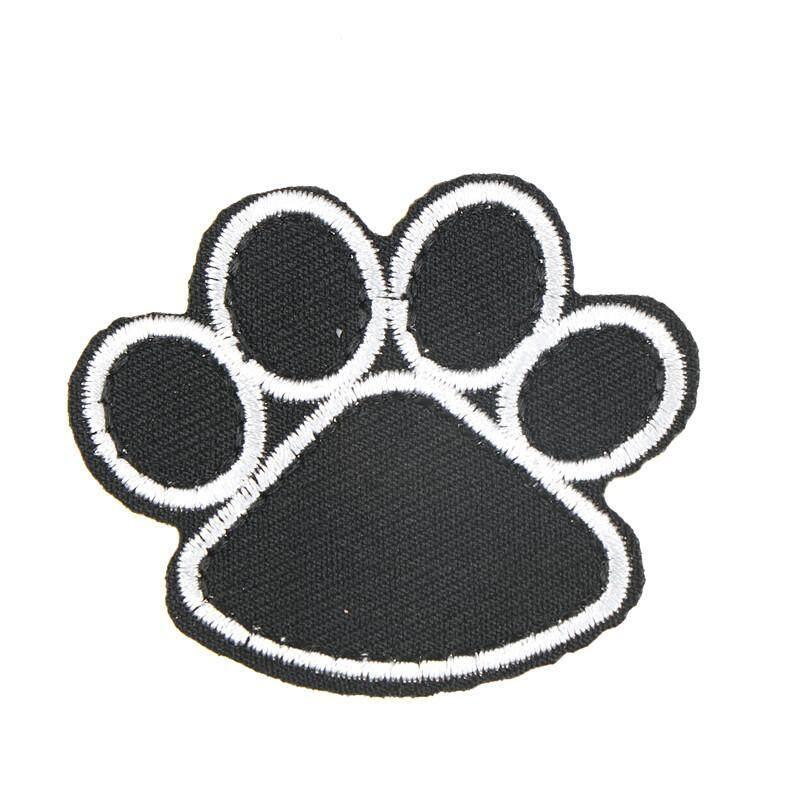 Chú Chó Paw)-Ngày Thêu In Chó Chân Lông Miếng Dán Vật Nuôi Chân Táo Đen