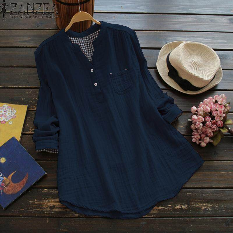 ZANZEA Women Casual Long Sleeve Cotton Blouse T Shirt Loose Button Up Tunic Top - intl