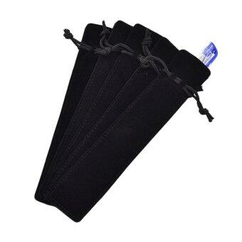 5PCS Velvet Pen Pouch Sleeve Holder Single Pen Case Pencil Bag Square Black