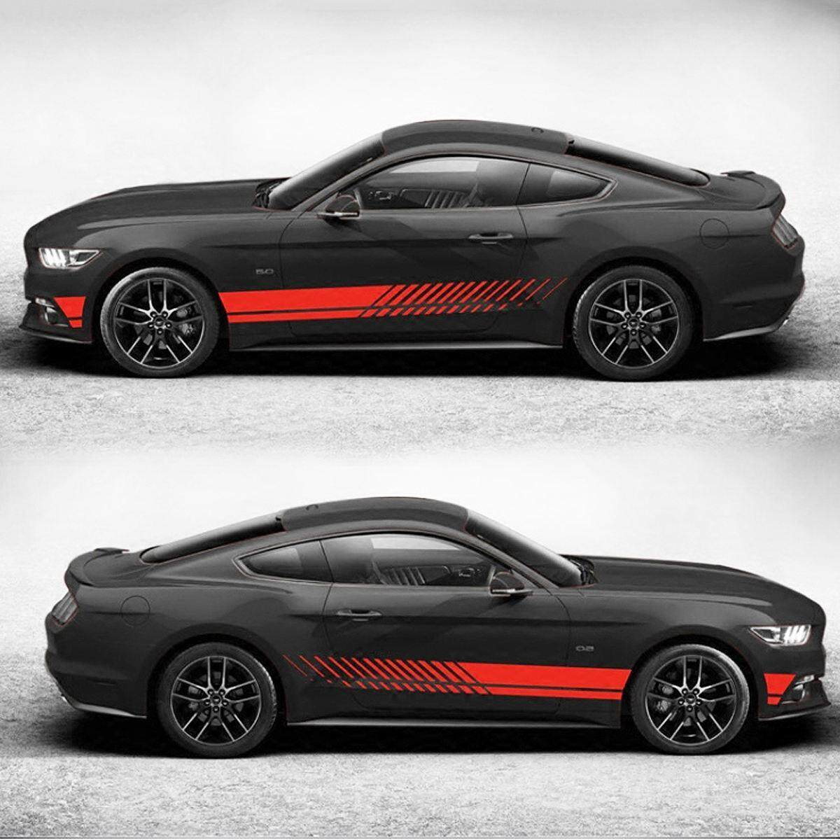 Product details of 2pcs universal sports racing stripe graphic stickers fit truck auto car body side door decals red