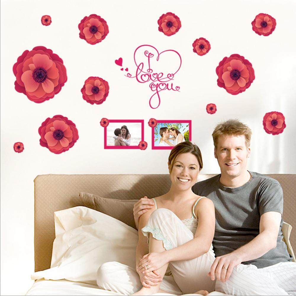 Red Flower Photo PVC Wall Decals DIY Home Sticker WallPaper Vinyl Wall arts Pictures Removable Murals For House Decoration Baby Living Rooms Bedroom Toilet