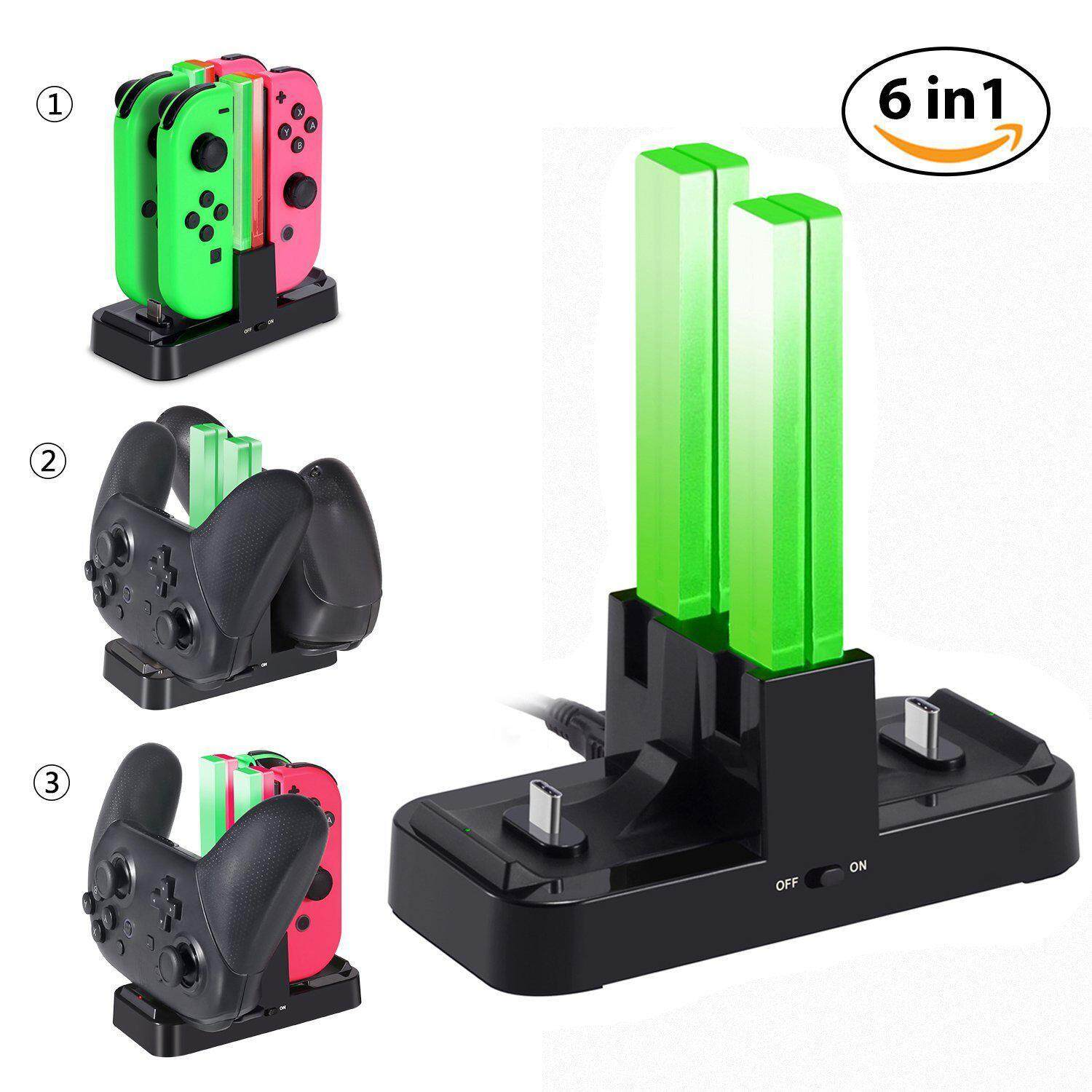 niceEshop Nintendo Switch Joy-Con And Pro Controller Charging Dock KINGTOP 6 In 1 Joy-Con Pro Controller Charger Station With Individual LEDs Indication