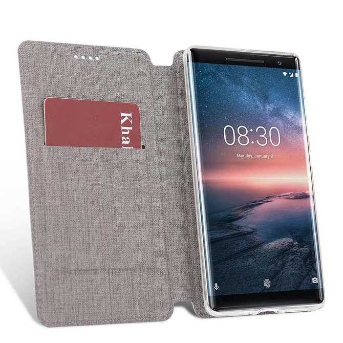 Slim PU Leather Flip Protective Magnetic Cover Case for Nokia 6 with Card .