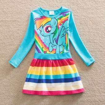 การ์ตูนสายรุ้งเด็กหญิงเจ้าหญิงน่ารักชุดเด็กทารกชุดวันหยุดเด็กฤดูร้อนเสื้อผ้าสำหรับงานปาร์ตี้แขนยาว (ขนาด 3 ~ 8 Y)-