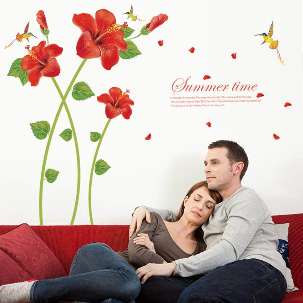 Red Flower Bird PVC Wall Decals DIY Home Sticker WallPaper Vinyl Wall arts Pictures Removable Murals For House Decoration Baby Living Rooms Bedroom Toilet