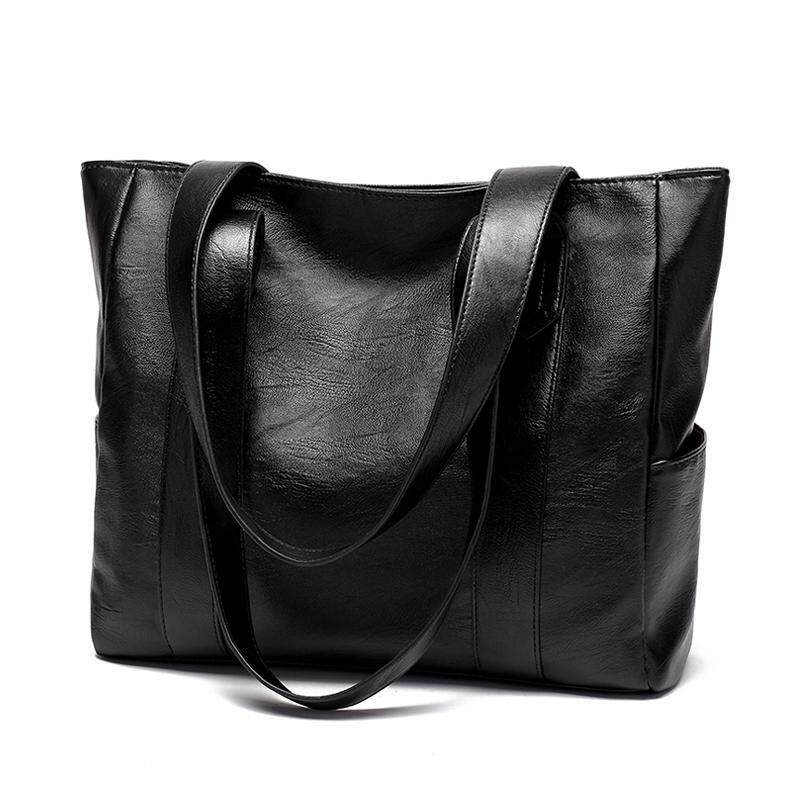 Women Soft PU Leather Top Handle Large Capacity Tote Shoulder Bag
