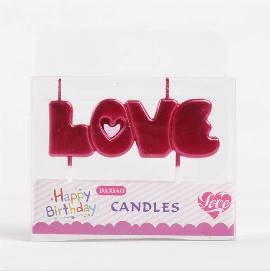 epayst【clearance sale+ready stock】LOVE Letter Cake Decoration Candles for Party Wedding Festival Baking Gadget