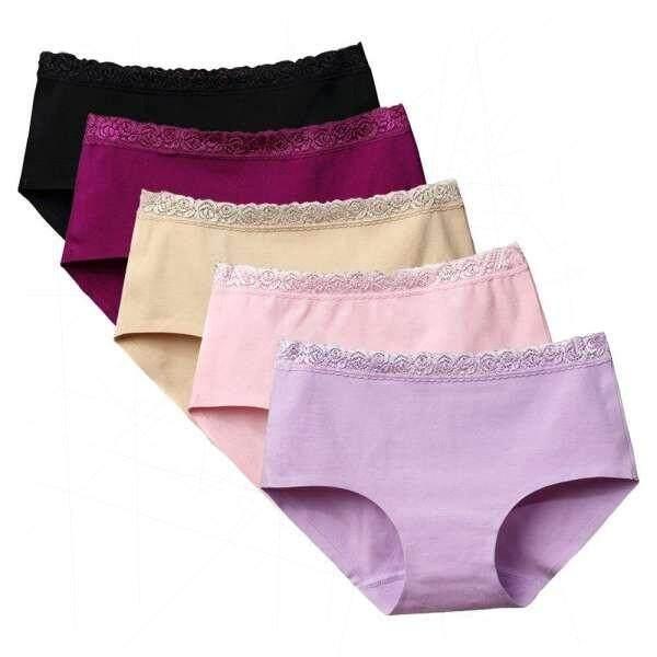 5PCS Women Underwears Soft Lace Cotton Briefs Middle-Waist Panties Colorful