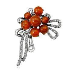 Phoenix B2C Shiny Rhinestone Round Beads Women's Brooch Pin Wedding Dress Scarf Jewelry (Orange)