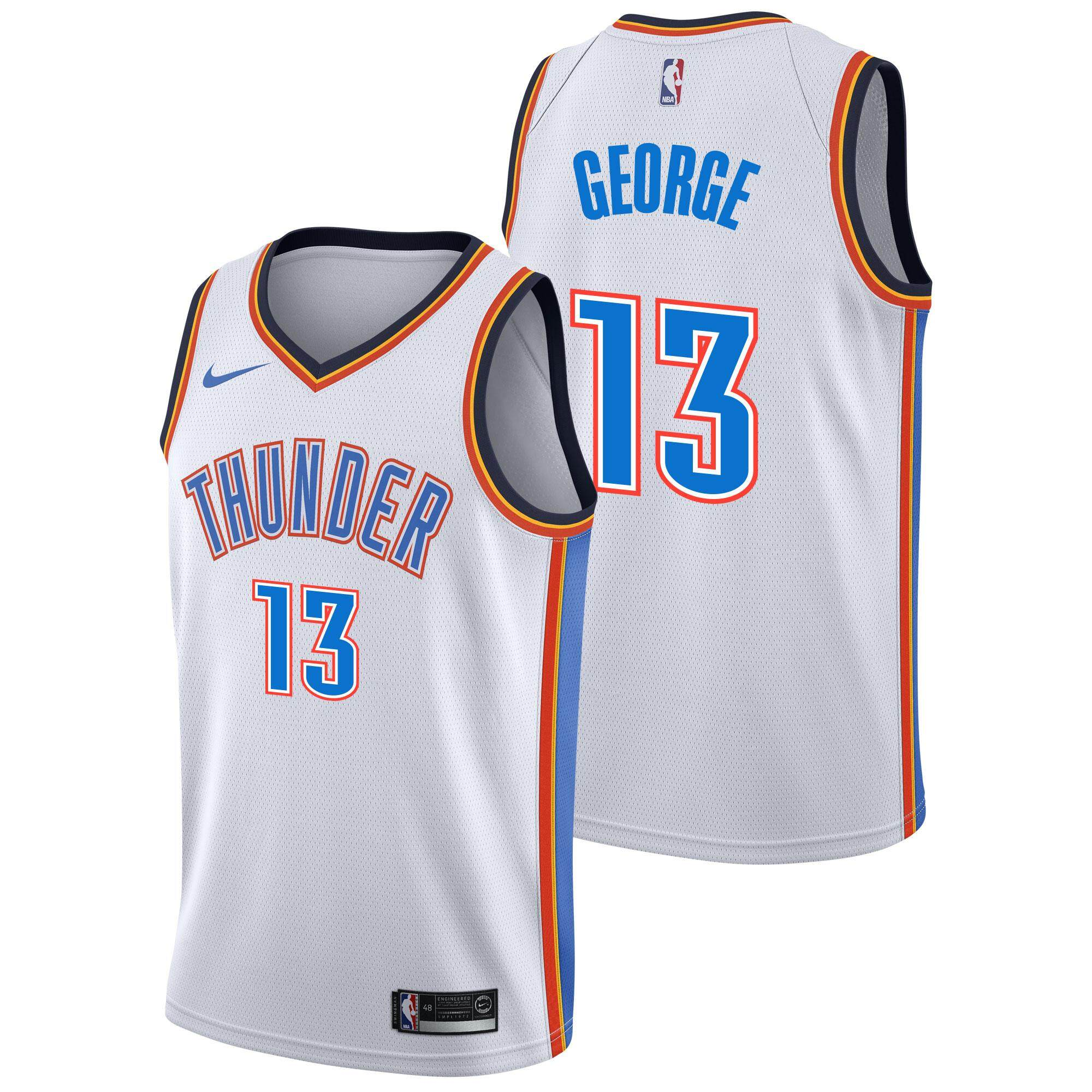 432ef938fa6b NBA For Man Basketball Clothes Swingman Jersey Number 13 Oklahoma City  Thunder Paul George Fashion Grey