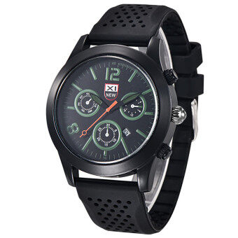 Perfect Gift Luxury Mens Black Dial Stainless Steel Date Quartz Analog Sport Wrist Watch 0905
