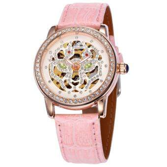 roortour 2016 Casual Reloj Mujer SHENHUA Watches Women Hollow Out Dial Automatic Mechanical Wrist Watch Xmas Gift Free Ship (Pink)