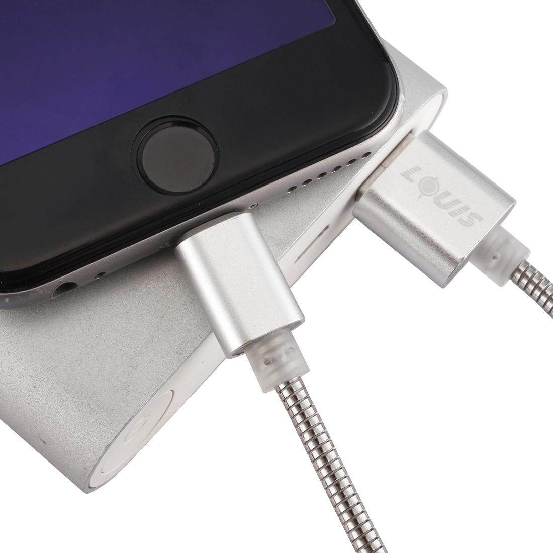 LOUIS 1m Stainless Steel + Aluminum Alloy 2.1A 8 Pin to USB 2.0 Sync Data