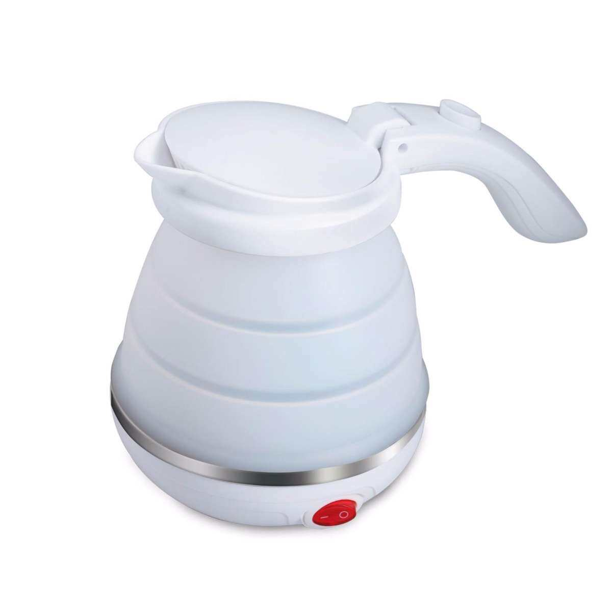 Dual Voltage 0.5L Travel Electric Kettle, Foldable,Food Grade Silicone,800W heating element(White)