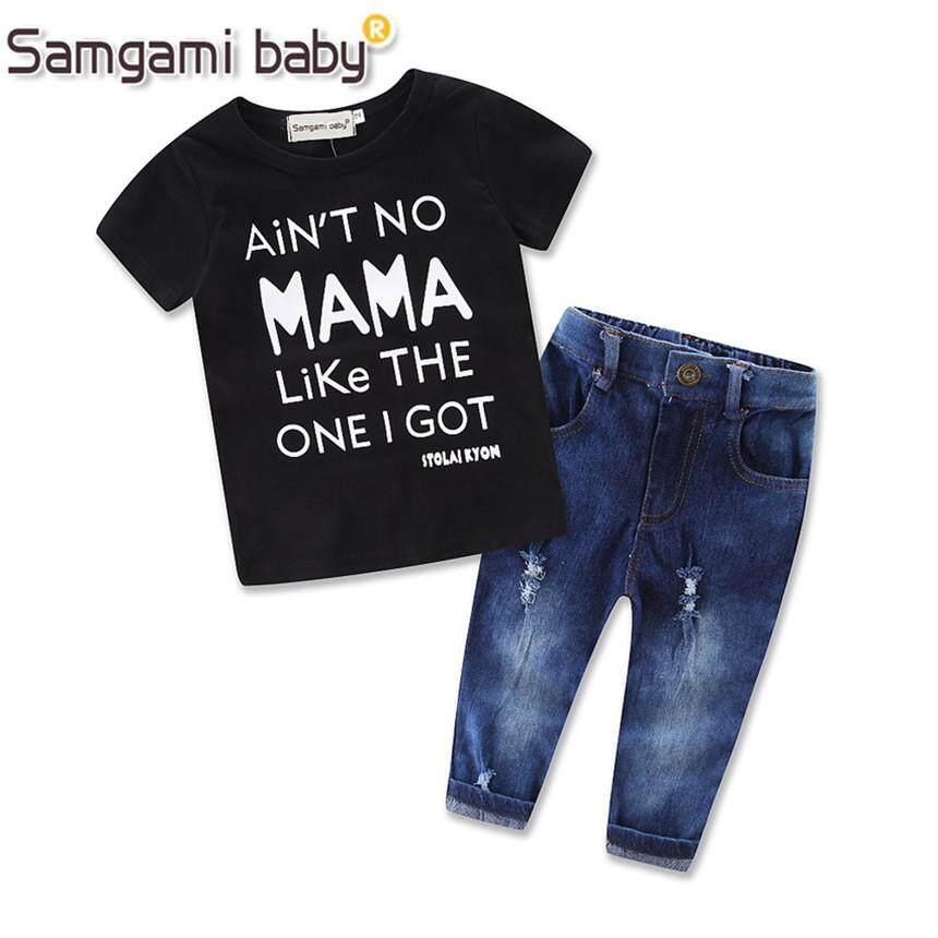 Samgami Baby Outfits Top T-Shirt Jeans Pants Clothing Set Baby Girls Clothes Cowboys Pants