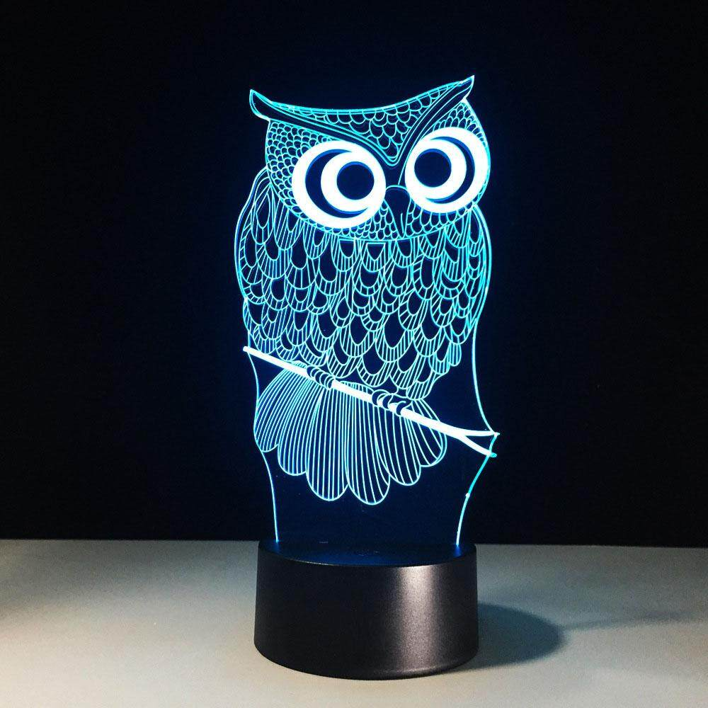 3D Novelty Touch Control Light Owl Acrylic 7 Color Changing LED Night Light Bedroom Lamp