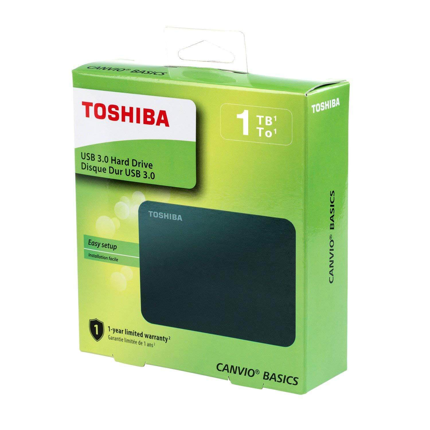 Toshiba Canvio Ready Basics 1TB Portable External Hard Drive HDD USB 3 0  Free Soft Pouch (HDTB410AK3AA)