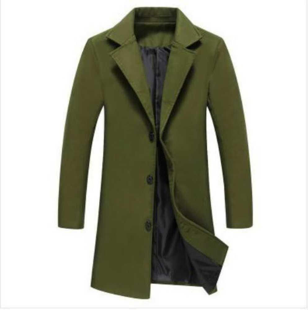 673cf1bd22d3d Wholesale- Anbican 2017 Spring New Long Wool Blends Coat Men Blue Design  Plus Size Trench