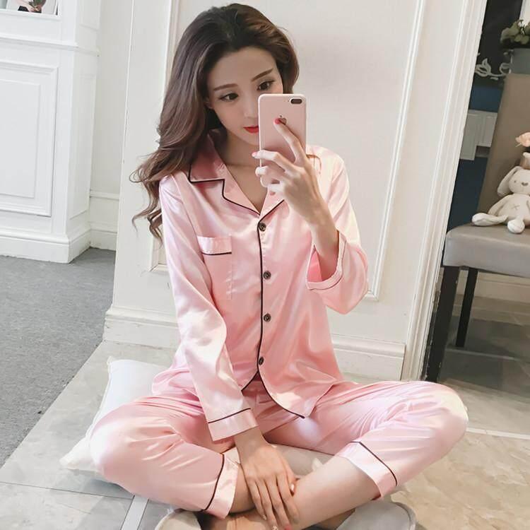 Hot Silk Pajamas for Women Satin Women Pajamas Sets Long Sleeves Turn-down Collar Pocket Decor Top+Pants Women Silk Pajamas