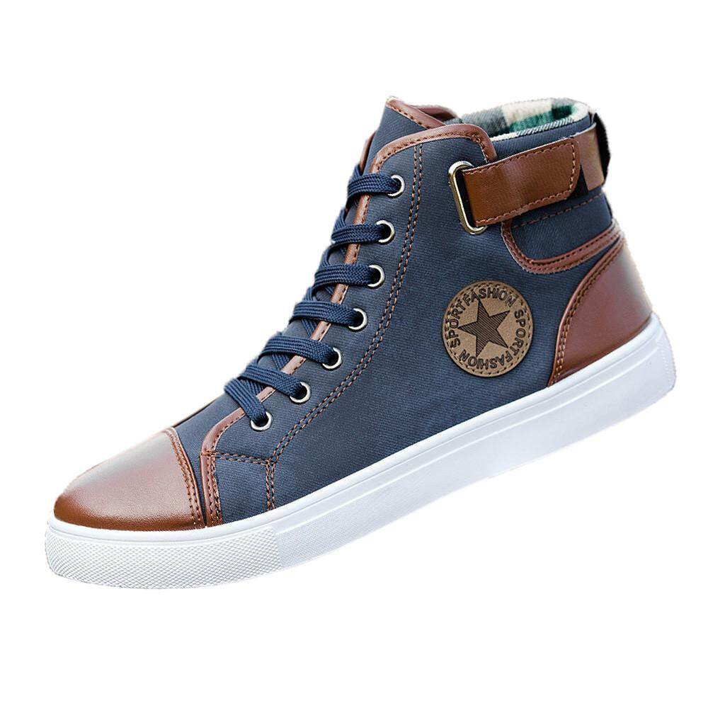 CocolMax Men Women Causal Shoes Lace-Up Ankle Boots Shoes Casual High Top Canvas Shoes