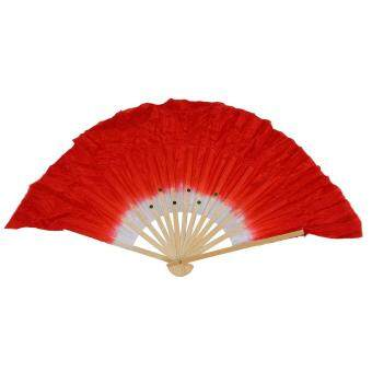 Beige Bamboo Ribs Flutter Fabric Chinese Folk Dancing Hand Fan Red White (Intl)