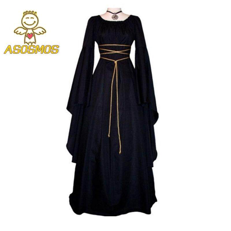 ASM Fashion Vintage Women Irregular Dress With Belt Long Sleeve O Neck Victorian Cosplay Party Costume Ladies Gown Dresses