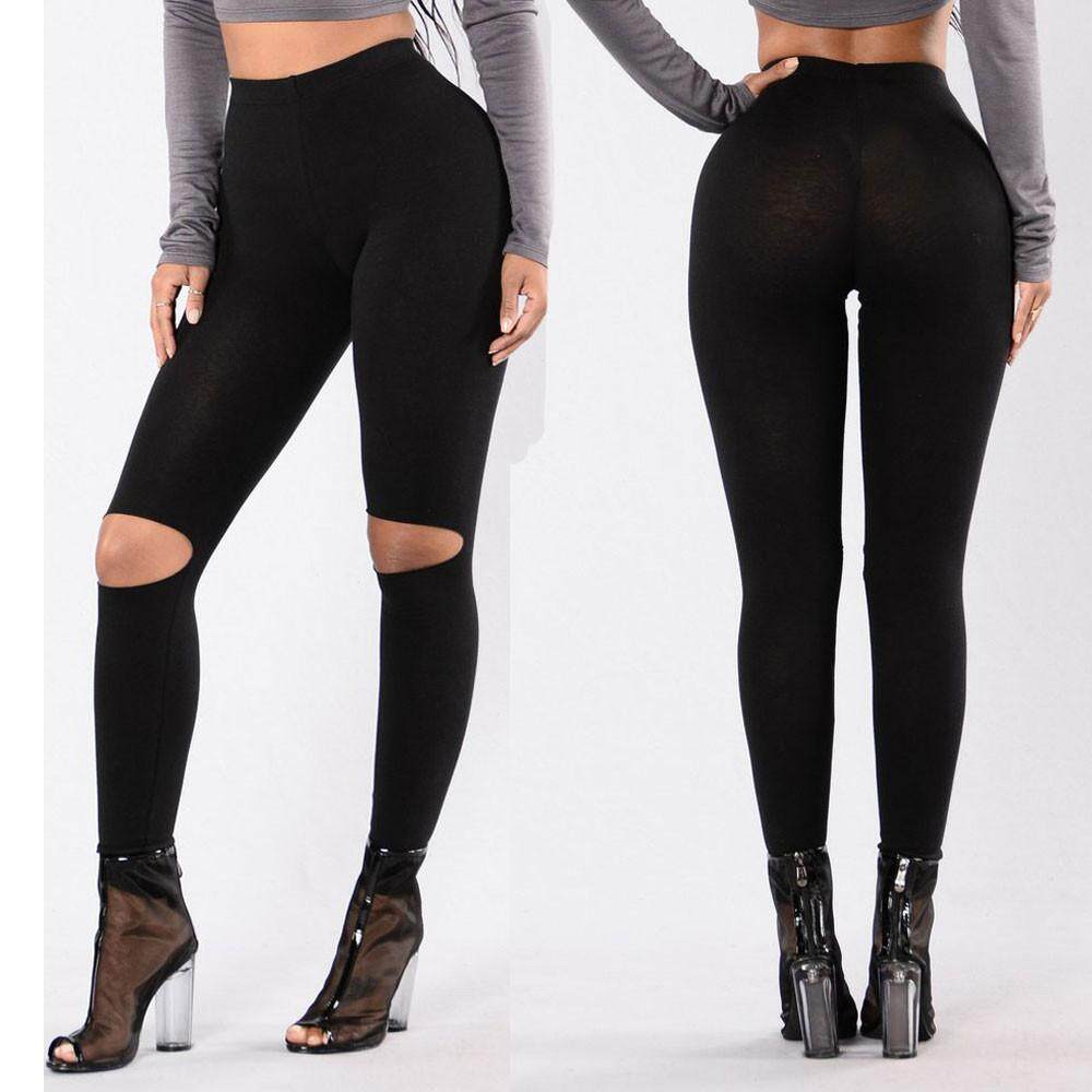 a99c9866dd07a nagostore Women Fashion Solid High Elasticity Hole Leggings Gym ...