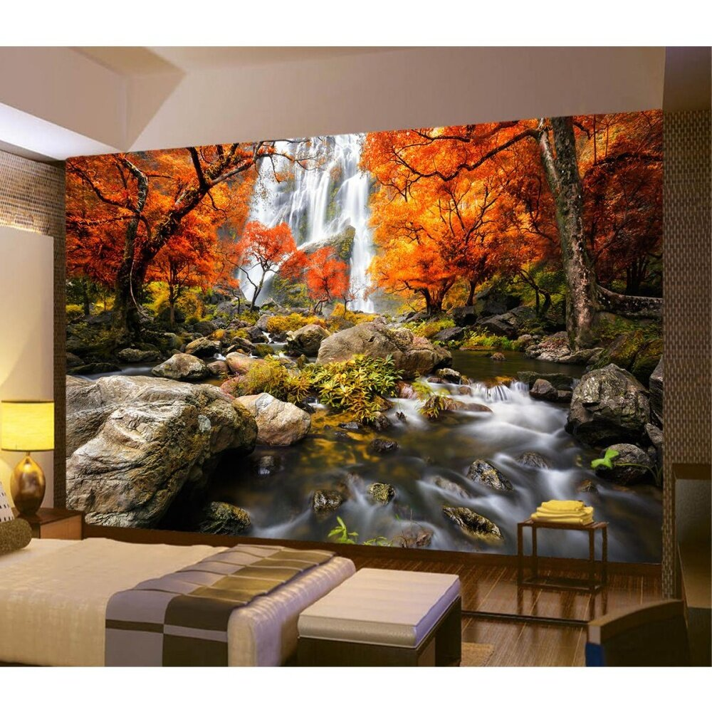 3D Photo Wallpaper Wall Mural River Waterfall Maple Nature Scenery Home Decor