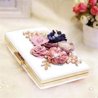 OutFlety ผู้หญิงดอกไม้เพิร์ล Clutches กระเป๋าถือตอนเย็นปาร์ตี้งานแต่งงานงานพรอมค็อกเทลคลัทช์กับไข่มุกลูกปัดที่ถอดออกได้ 47