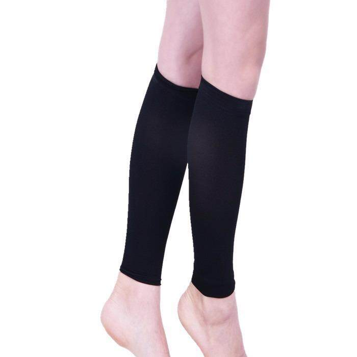 8b770fff34 1 Pair Medical Calf Compression Sleeve Socks Varicose Veins Calf Sleeve Compression  Brace Wrap Leg Shaping-Black Color (XL) - intl