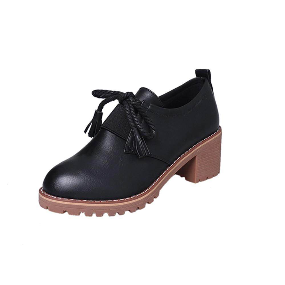 〖Free Shipping〗Waldenshop COD Women's Fashion Leather Thick Tassel Lace-Up Boots Casual Shoes