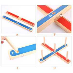 Hình ảnh Rope Hoop Wooden Quoits Fun Ring Toss Game Toy Pegs Hoopla Activity Toys Ringer - intl