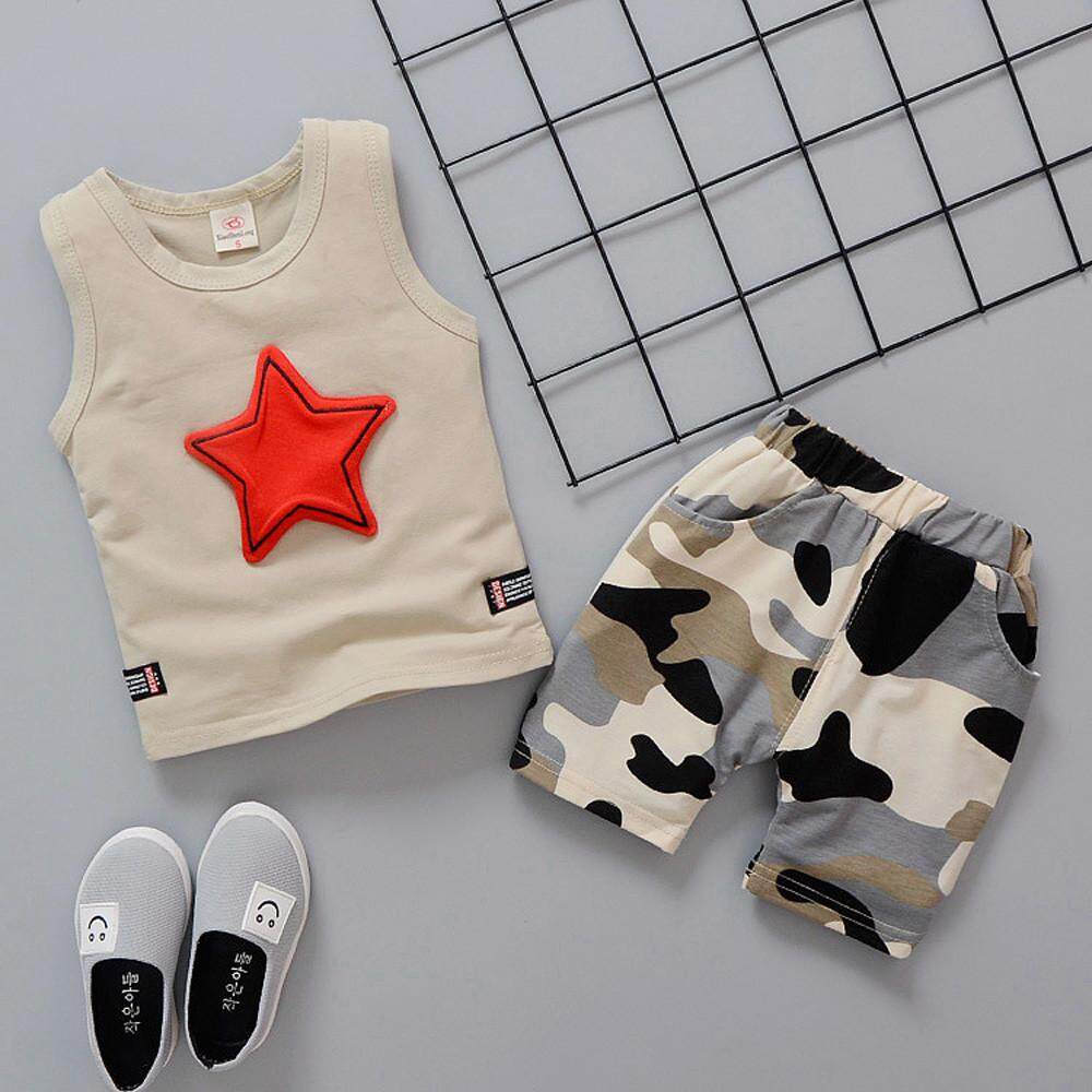 Myapple Toddler Kids Baby Boys Outfits Sleeveless Vest Tops+Camouflage Pants Clothes Set