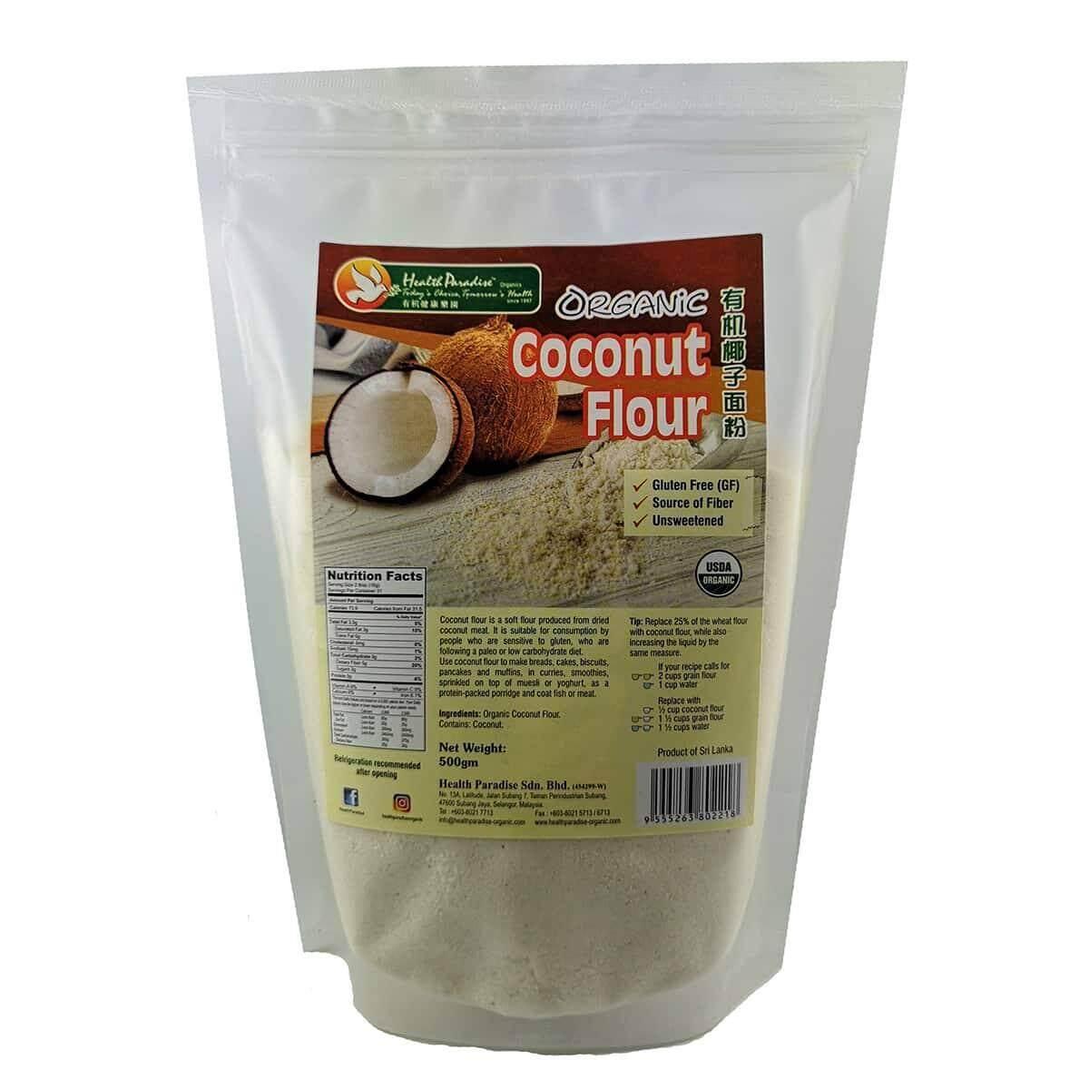 RM10.90Health Paradise Organic Coconut Flour 500gm GF gluten free keto paleo