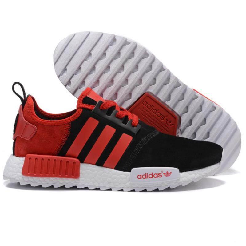 อำนาจเจริญ Adidas Men s NMD รองเท้าวิ่งรองเท้าผ้าใบกีฬาแฟชั่น Casual รองเท้ากีฬา (สีดำ/สีแดง)