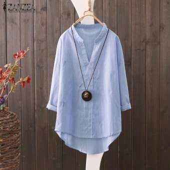 ZANZEA ผู้หญิงลาย V แขนเสื้อครึ่งคอเสื้อยืดผู้หญิงเสื้อ Pullover PLUS-