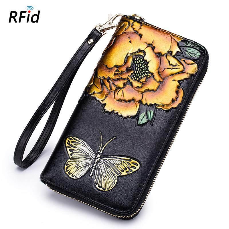 Thời trang hoa hồng Ví nữ da RFID tín hiệu che chắn 2018 Mới Túi xách khóa Zipper