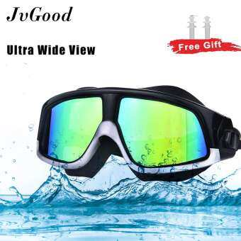 JvGood Swimming Goggles Colorful Swimming Glasses Big Frame Waterproof Glasses Premium Polarized Clear Lens Wide-vision No Leaking UV and Anti Fog Protection for Men Women Adult Youth with Free Ear Plugs