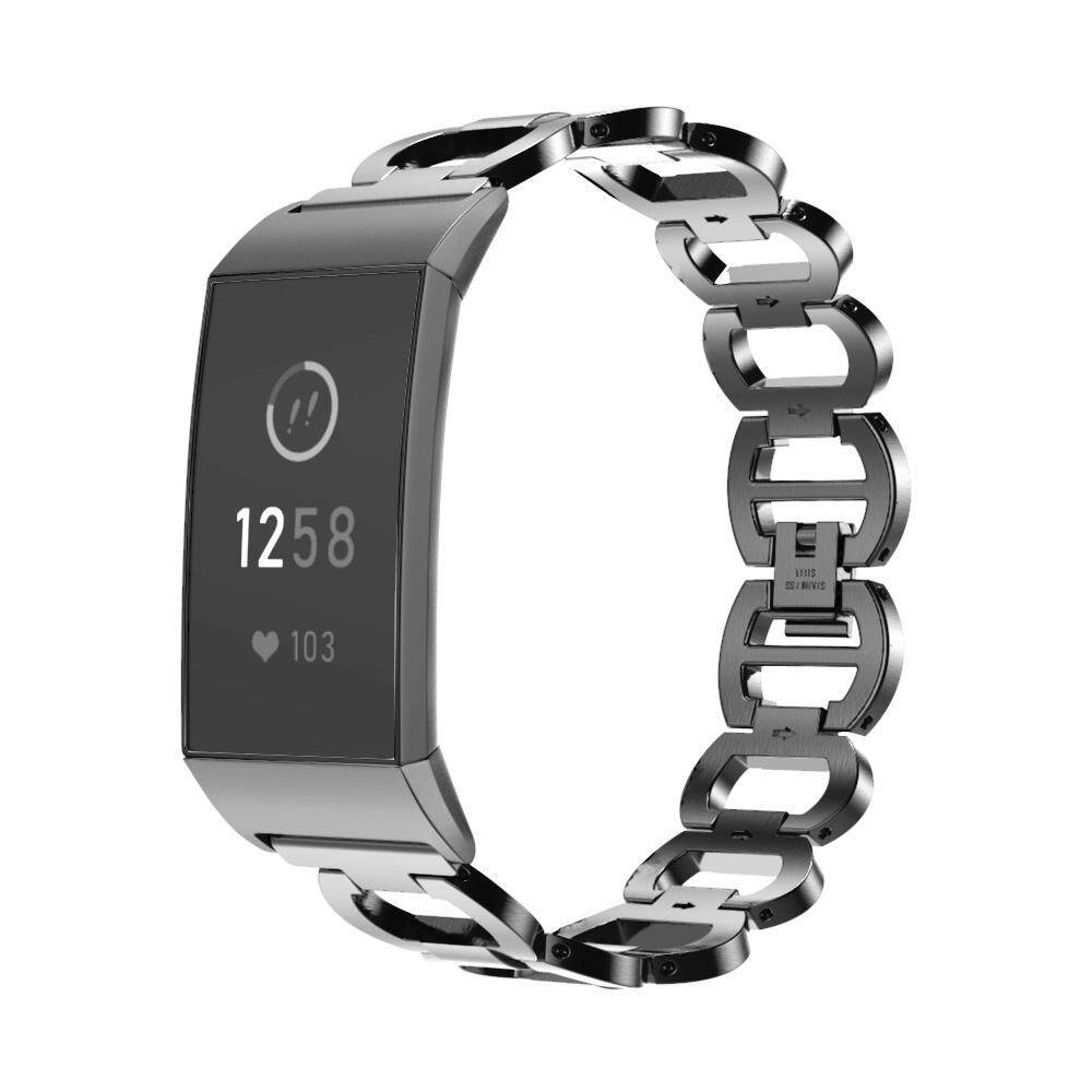 Wincoo Bling Band Compatible with Fitbit Charge 3 Fashion Stainless Steel  Metal Wristband Strap, 4 Colors Available