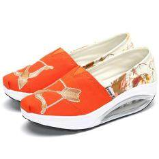 Fashion Women Pattern Color Blocking Canvas Platform Rocker Sole Shake Shoes Closed-Toe Wedges
