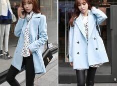 AngelCityMall Nữ Nữ Thu Đông Hàn Quốc Dày Dặn Ấm Kẻ Sọc Áo Khoác Len Trang Phục Overcoats Áo